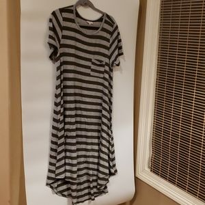 4/$25 LulaRoe striped dress mid shin size L